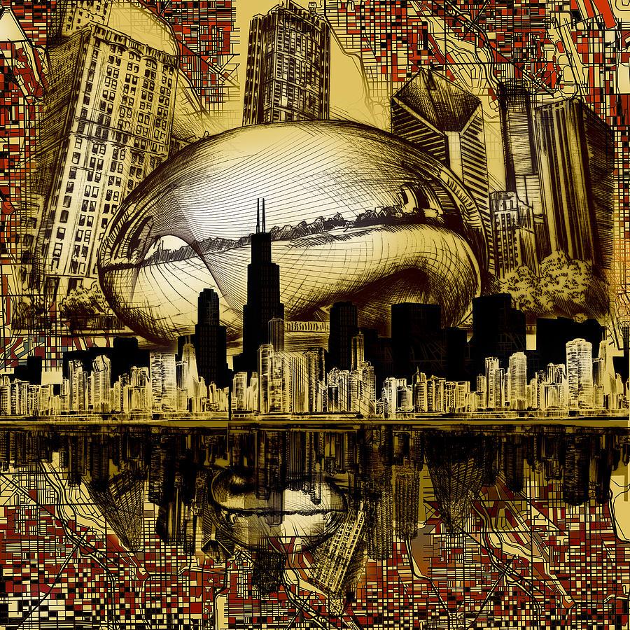 900x900 Chicago Skyline Drawing Collage 3 Digital Art By Bekim Art
