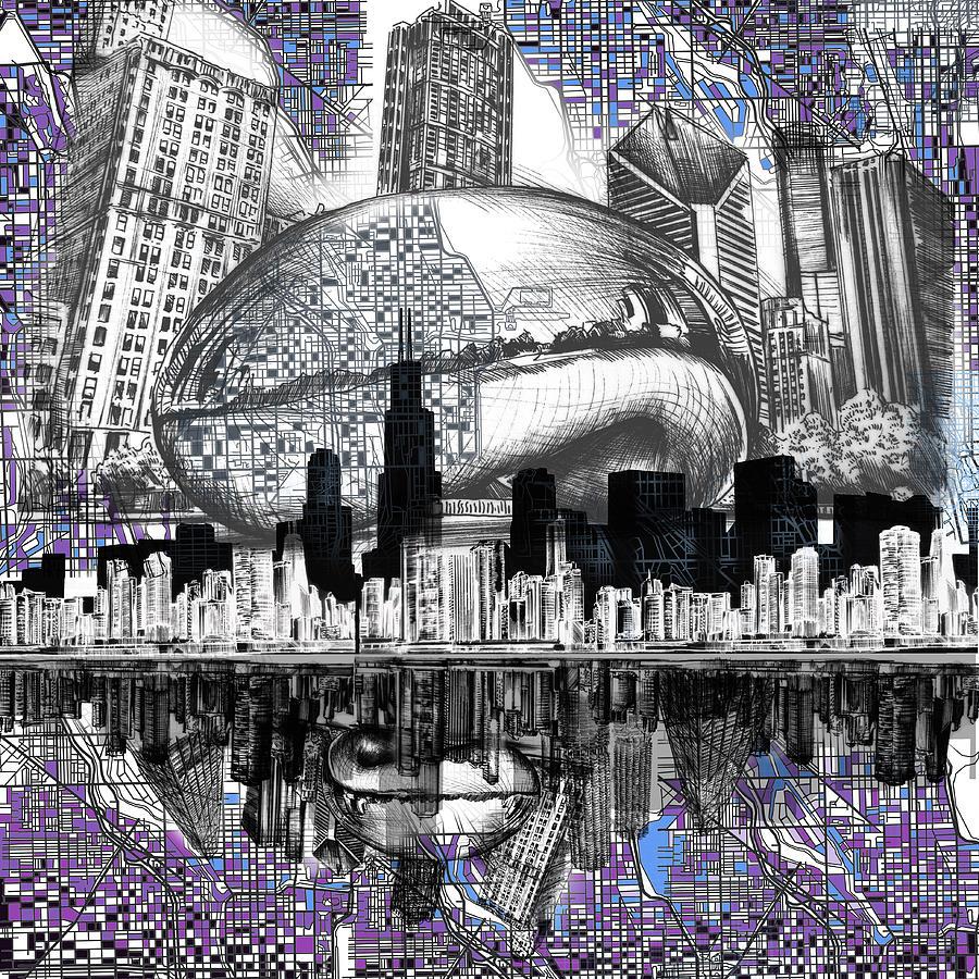 900x900 Chicago Skyline Drawing Collage Digital Art By Bekim Art