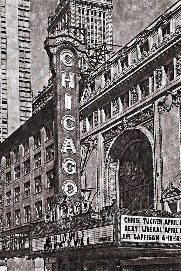 602x900 Chicago Theater 5599 Classic Drawing 1 Hp Digital Art By David Lange
