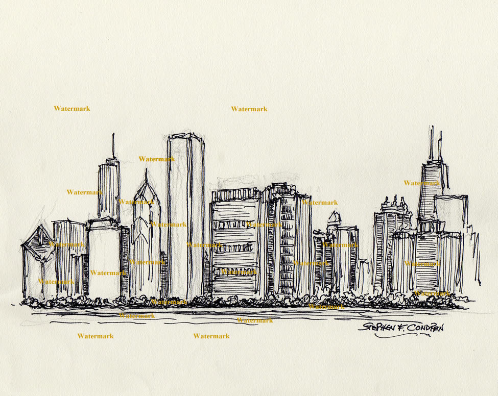 975x776 Chicago Skyline Pen Amp Ink Drawing Of East Randolph Street 777 For Sale
