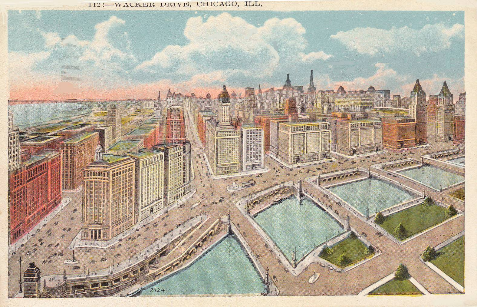 1576x1014 Postcard Chicago Wacker Drive Looking S Aerial Drawing