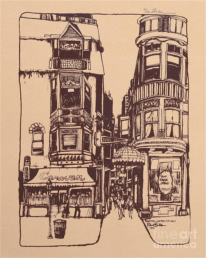 721x900 Pipers Alley On Wells Street Drawing By Robert Birkenes