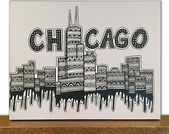 340x270 Sears Tower Drawing Etsy