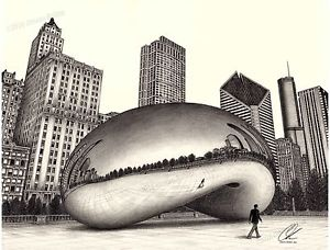 300x228 The Bean With Chicago Skyline Pencil Drawing By Omoro Rahim Ebay