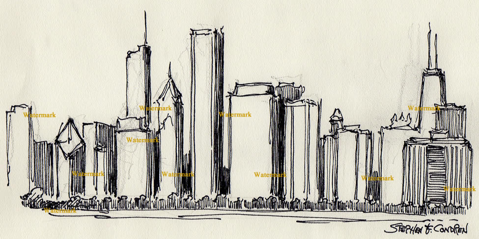 975x488 Skyline Pen Amp Ink Drawing Of East Randolph Skyscrapers.