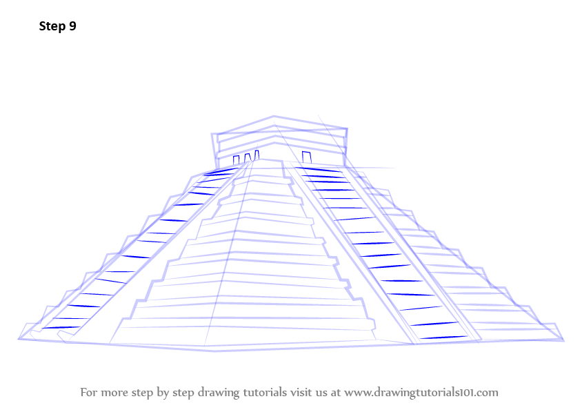 844x594 Step By Step How To Draw El Castillo Chichen Itza
