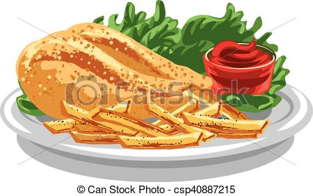 450x282 Illustration Of Grilled Chicken Breast With Fries And Tomato