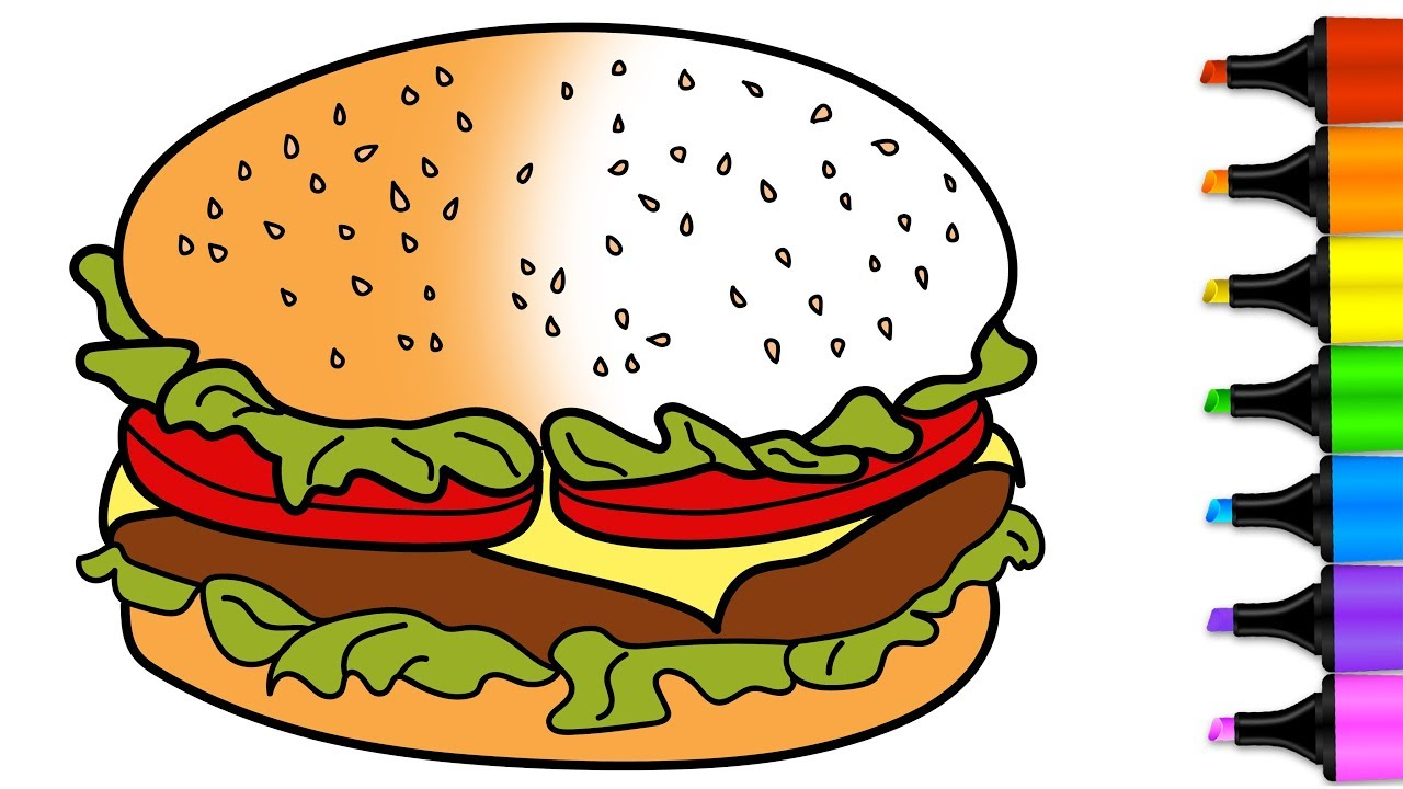 1280x720 Chicken Burger Coloring Pages How To Draw Burger Learn Drawing