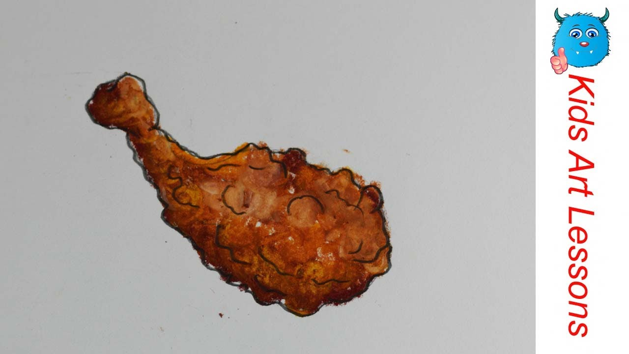 1280x720 Food Drawings How To Draw A Fried Chicken Drumstick Easily In Oil