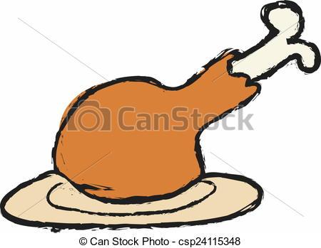 450x349 Cartoon Chicken Leg Drawing