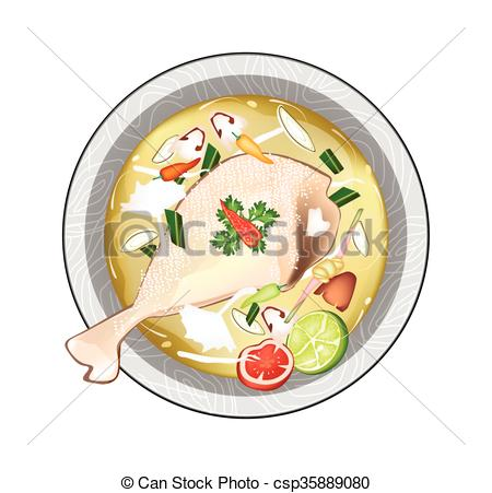 450x451 Chicken Tom Yum Or Thai Sour Soup With Chicken. Thai Vector