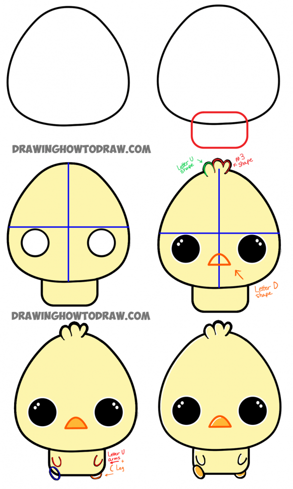 584x974 How To Draw A Cartoon Chibi Baby Chick