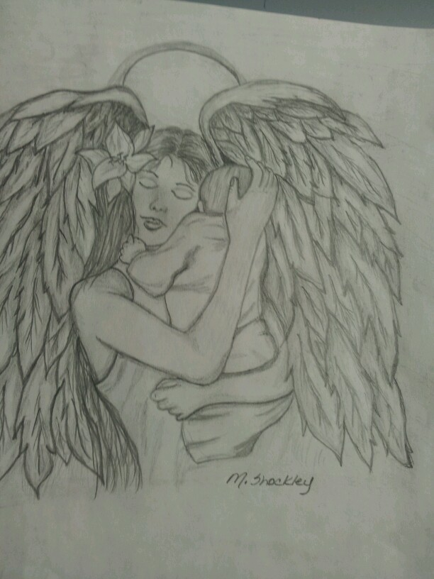 612x816 Angel With Baby Drawing For Sale Mls Sketches Baby