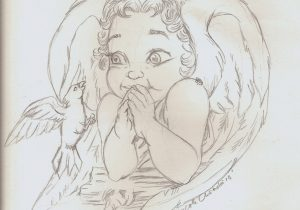 300x210 Baby Angel Sketches Baby Angel Sketches Child Angel Tattoo Photo