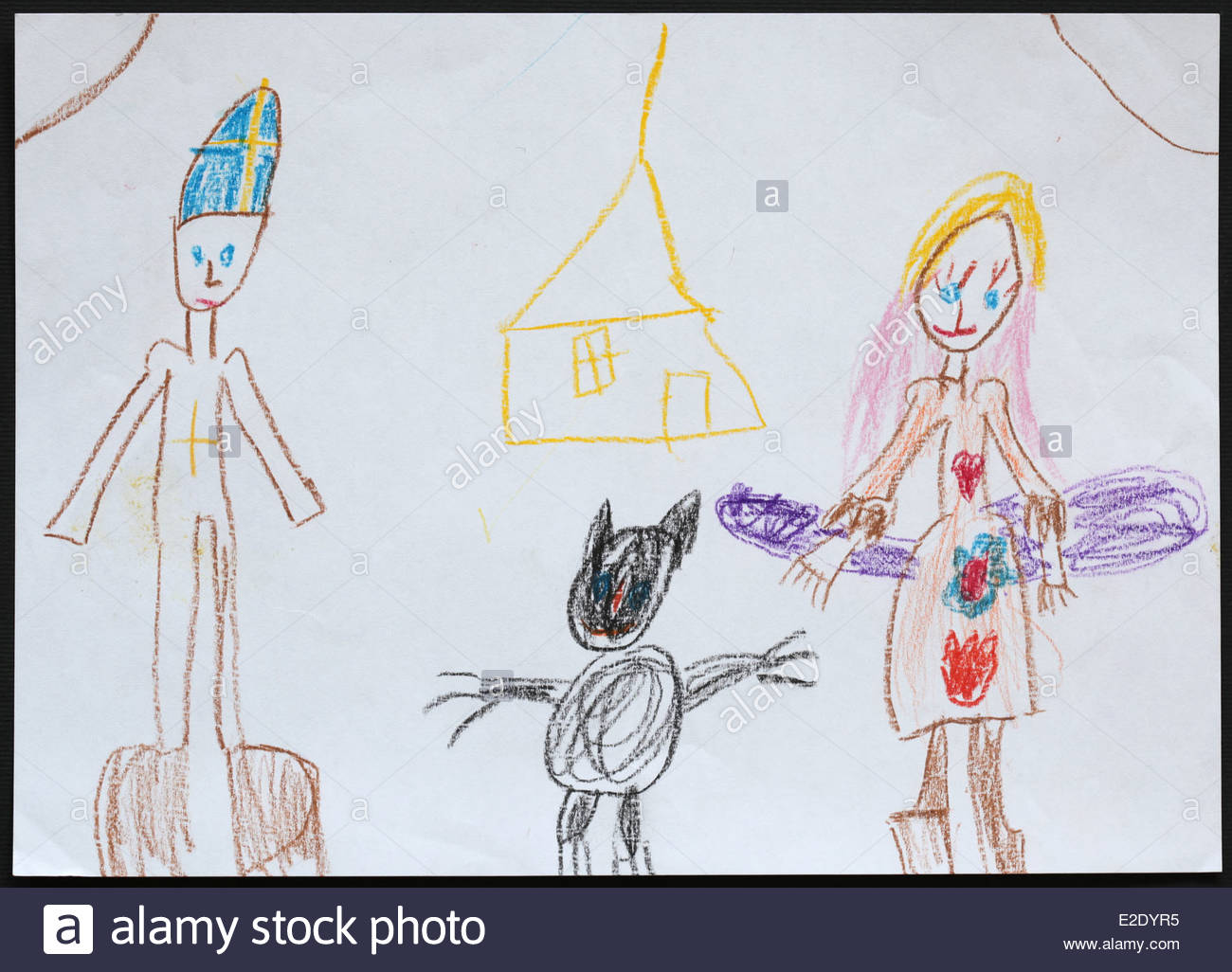 1300x1026 Child's Drawing Of Saint Nicholas Followed By Angel And