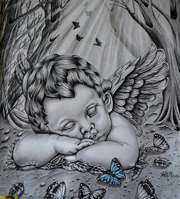 620x686 Drawn Angel Baby