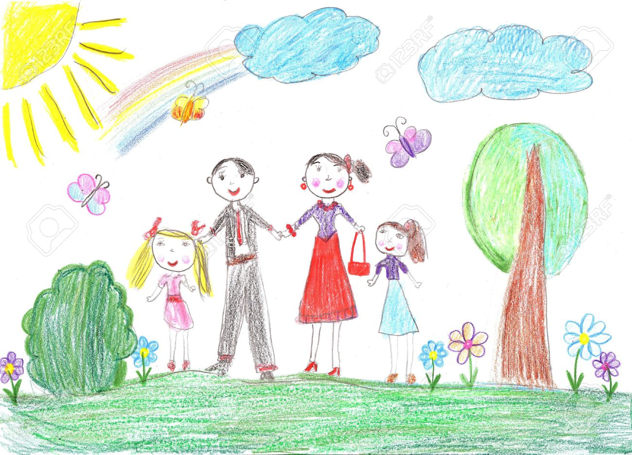 1300x936 Child Drawing.happy Family With Two Children Stock Photo, Picture