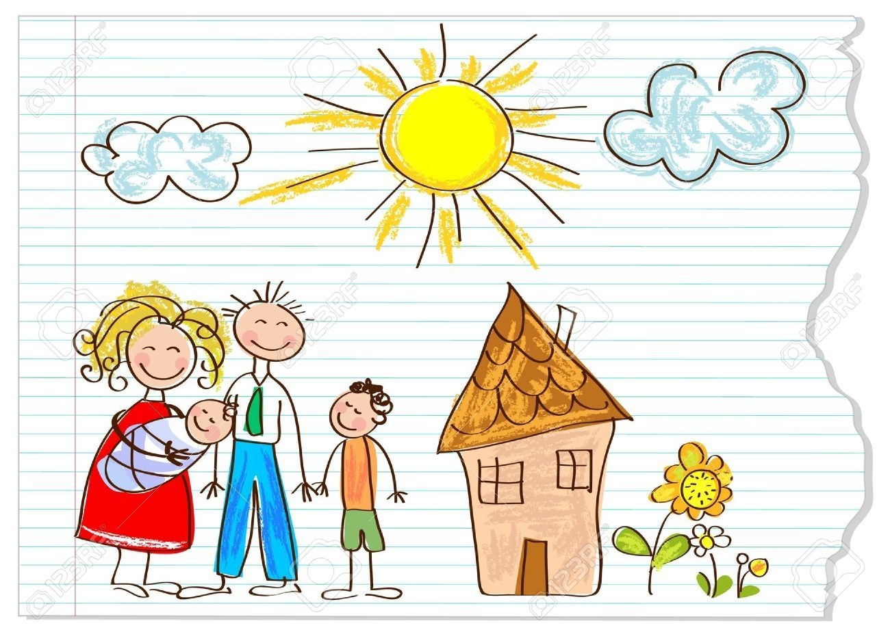 1300x924 12826217 Children Drawing Happy Family On A Peace Of Paper Stock