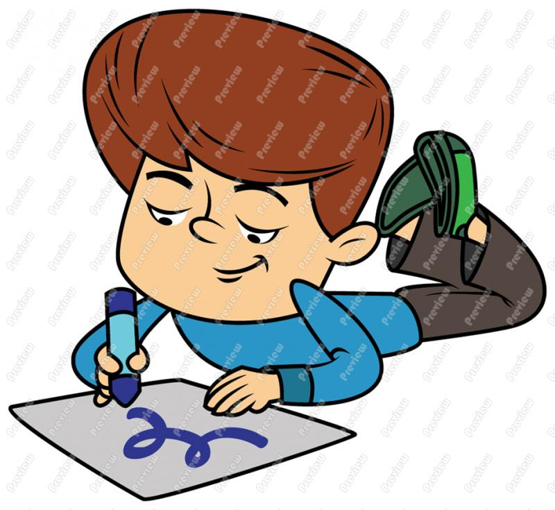 800x735 Boy Child Drawing And Coloring Clip Art