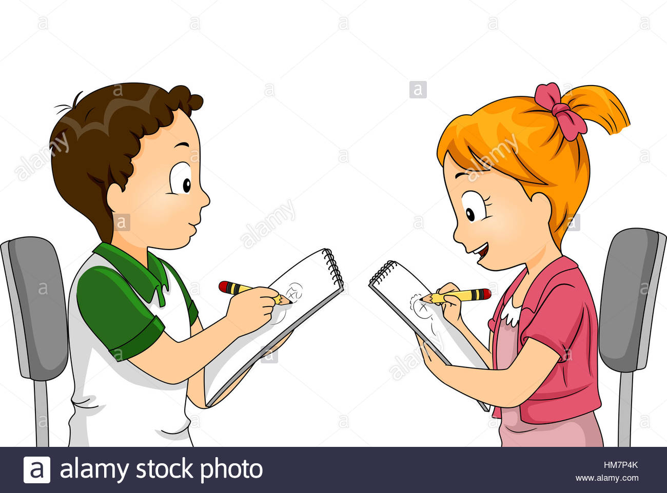 1300x962 Illustration Of Children Drawing Each Other Stock Photo 132936739