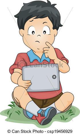280x470 Tablet Thinking Boy. Illustration Of A Little Boy Thinking