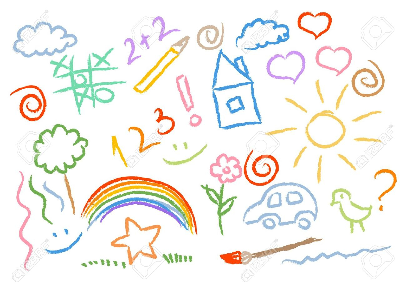 1300x904 Picture Of Drawing For Kid Children Drawing Multicolored Symbols
