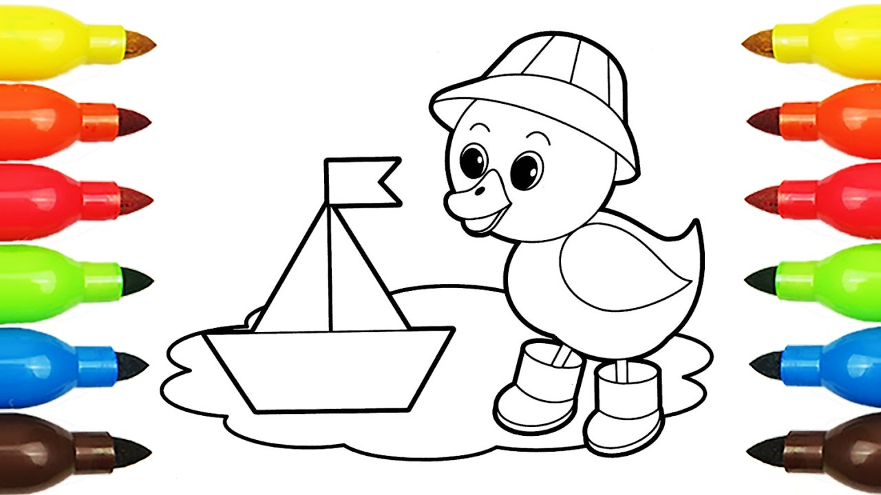 1280x720 Drawing Duck, Baby Alexander, Smile Coloring Book With Colored