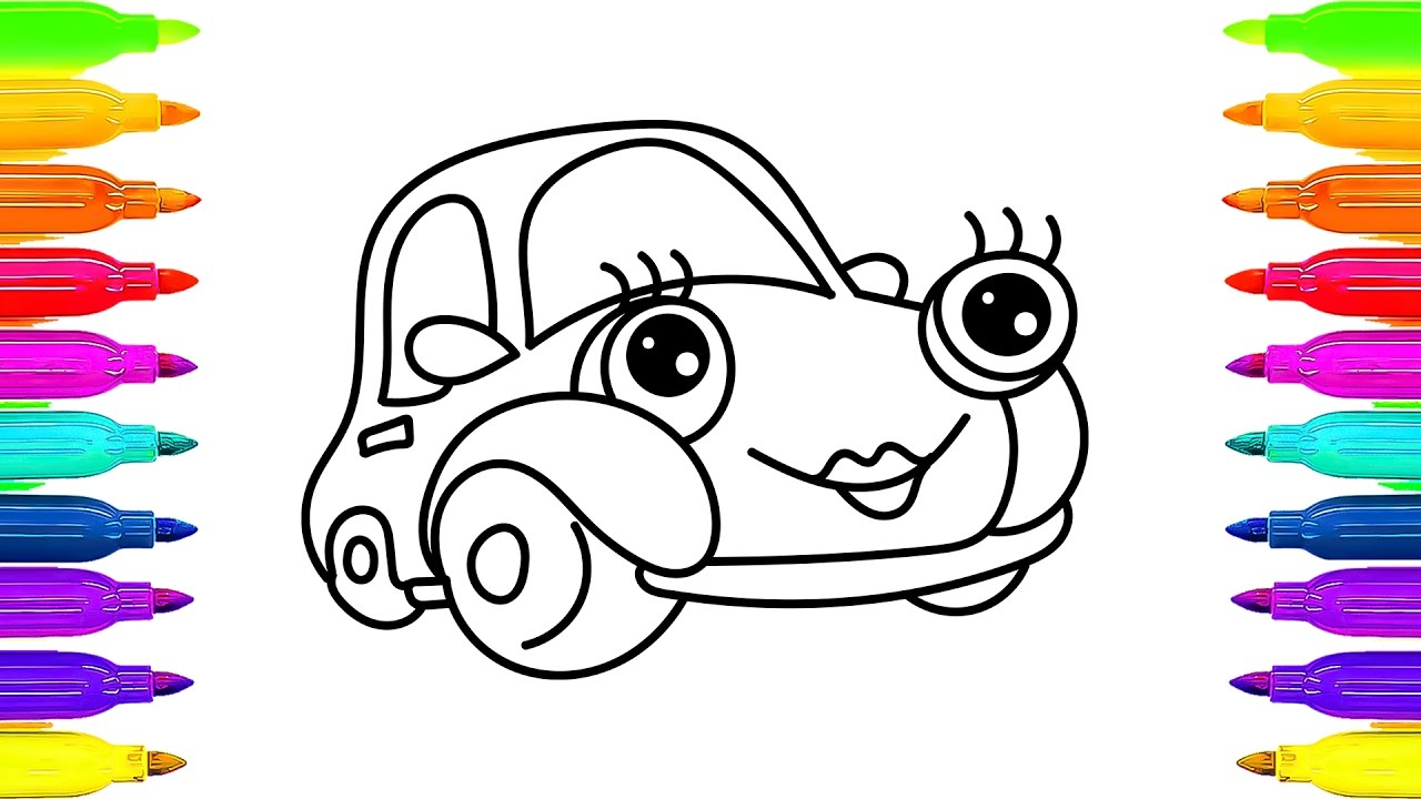 1280x720 How To Draw Car Coloring Book For Kids Drawing And Learning