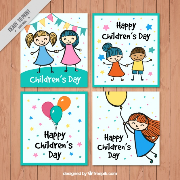 626x626 Funny Pack Of Children's Day Drawings Cards Vector Free Download