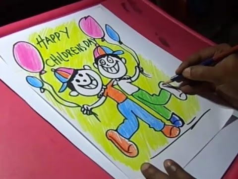 480x360 How To Draw Children's Day Greeting Drawing For Kids Step By Step