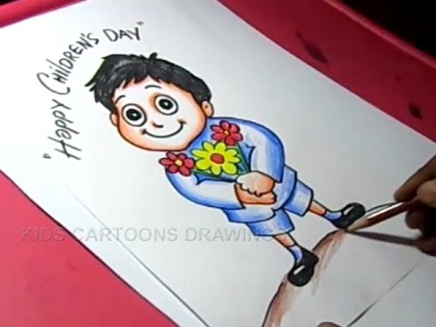 480x360 How To Draw Children's Day Greeting Card Drawing For Kids Step By
