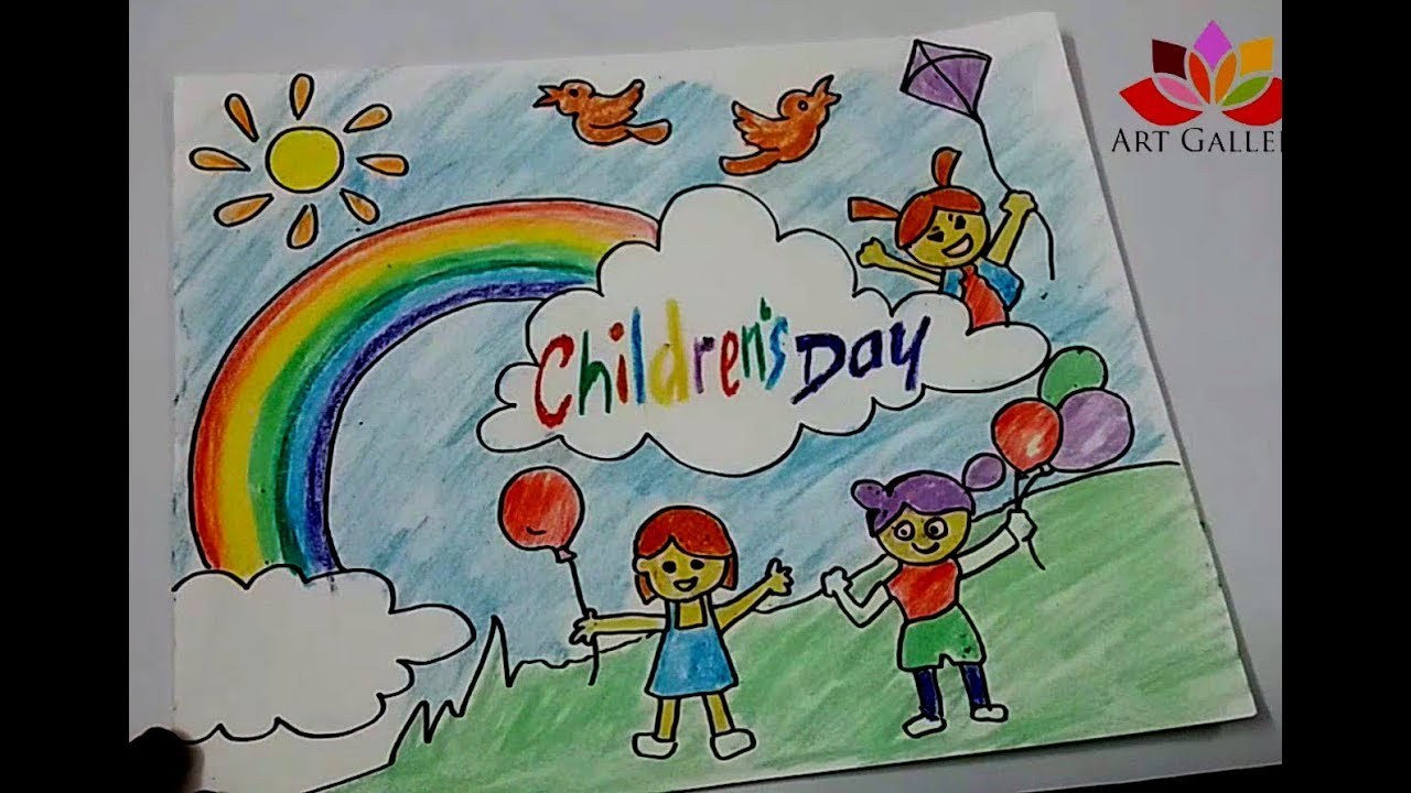 1280x720 How To Draw Children Day Easy Drawing