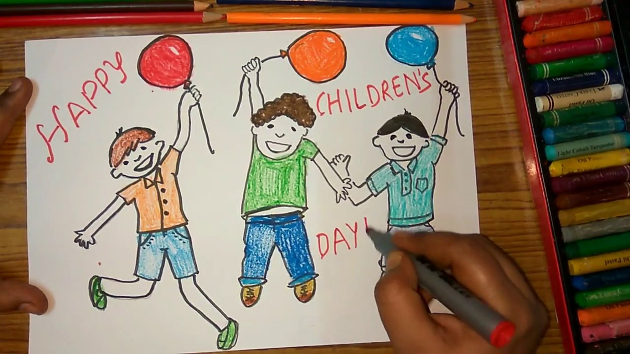 1280x720 How To Draw Children's Day Kids Celebrating Poster Step By Step