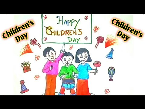 480x360 How To Draw Children's Day Drawing