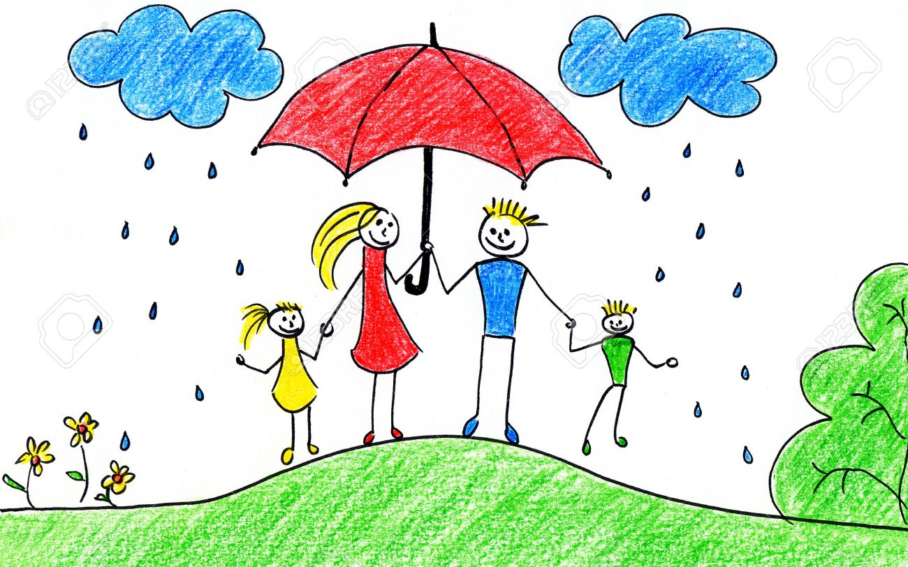 1300x812 Children's Drawing Of Happy Family With Umbrellas In Autumn Time