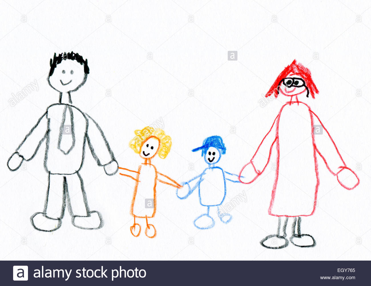 1300x1001 Children's Drawing Of Happy Family Taking A Walk Stock Photo