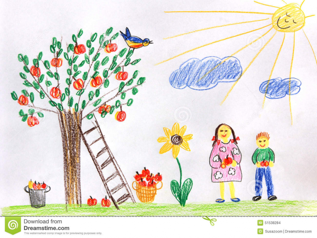1024x770 Childrens Drawing Scenary Pictures Autumn Scenery Kids Drawing