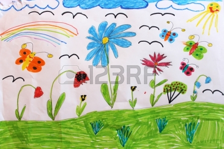 450x300 Multicolored Children's Drawing With Rainbow Butterflies