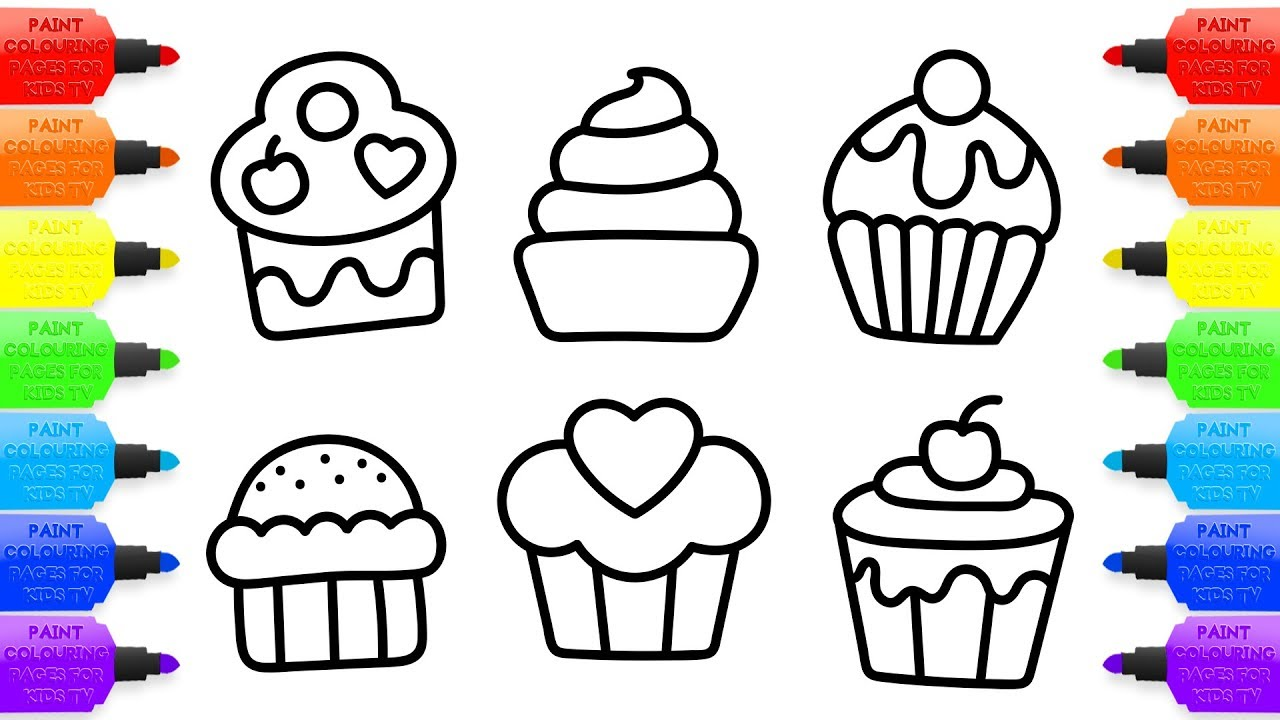1280x720 Cupcakes Set Coloring Book Childrens Drawing Art Colours