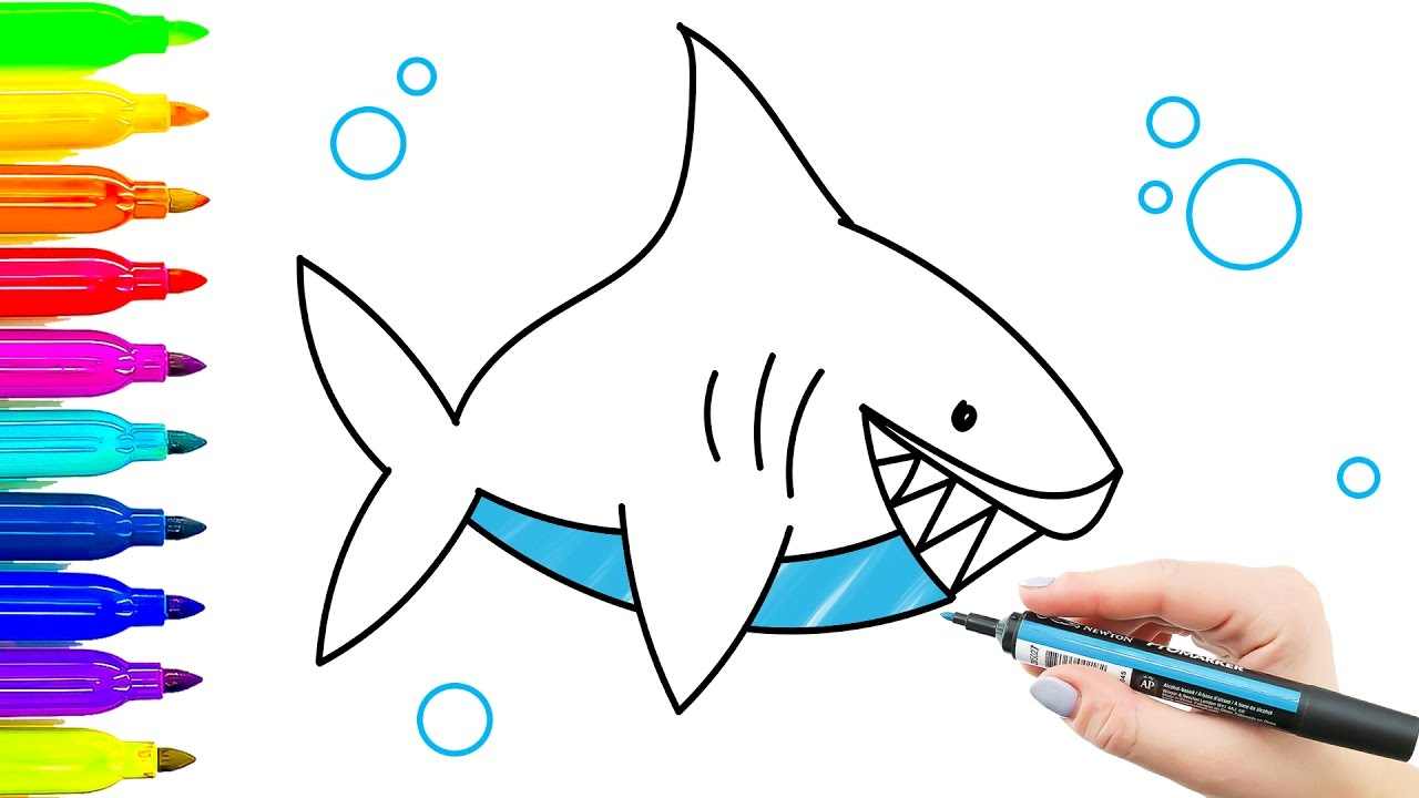 1280x720 How To Draw Shark. Children's Drawing And Coloring With Colored