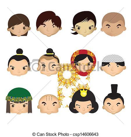 450x470 Cartoon Children Face. A Cute Set Of Different Kids Faces Eps