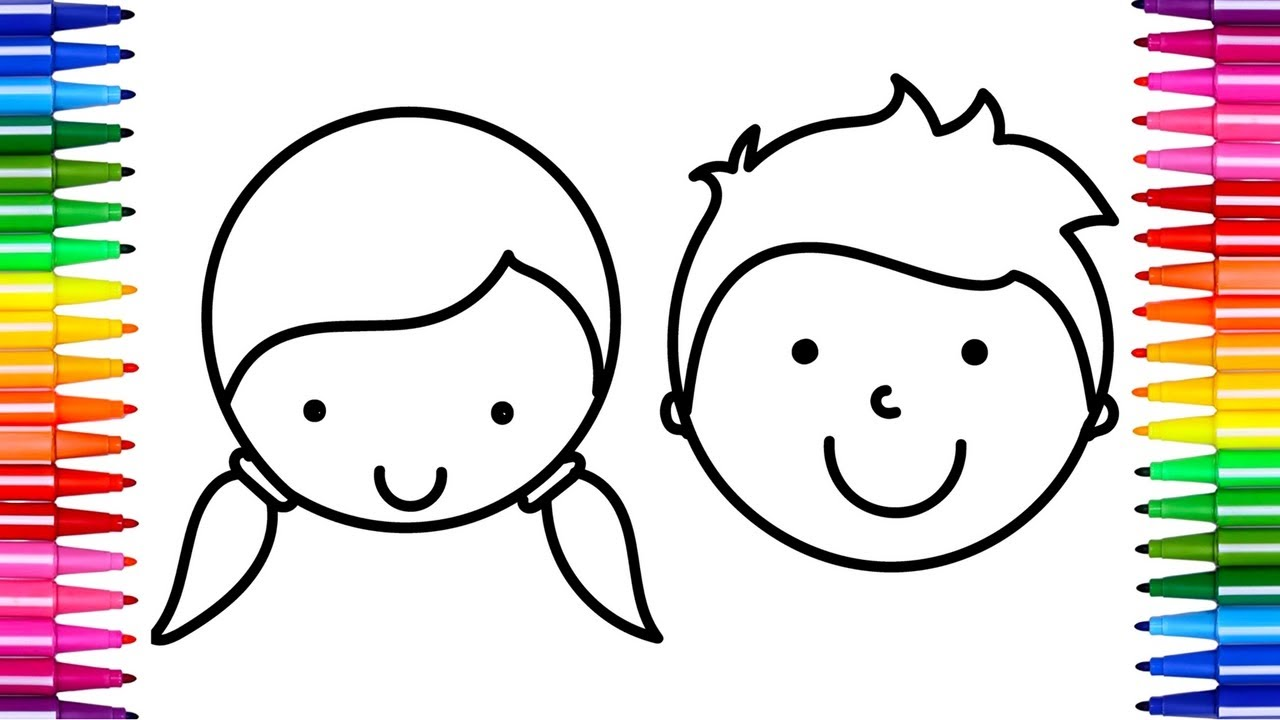 1280x720 How To Draw Boy And Girl Face Coloring Pages Faces For Kids