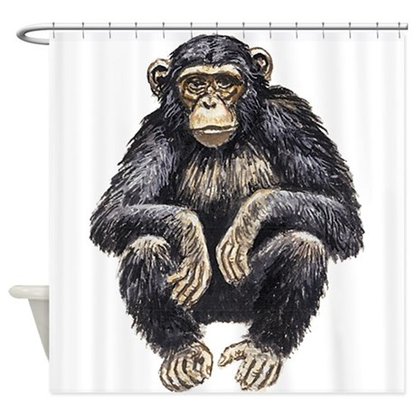 460x460 Chimpanzee Drawing Shower Curtains Cafepress