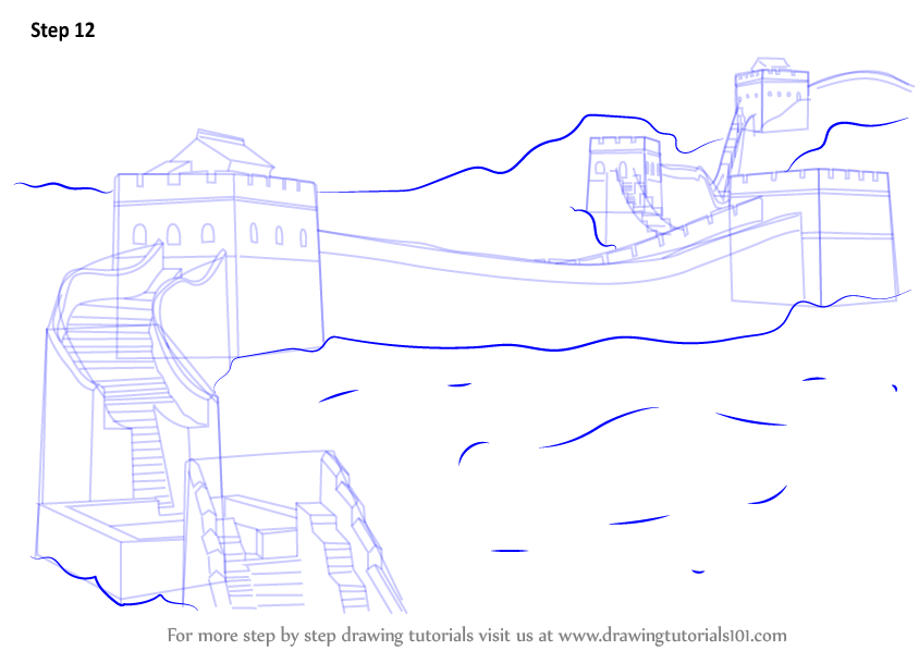 844x598 Learn How To Draw Great Wall Of China (World Heritage Sites) Step