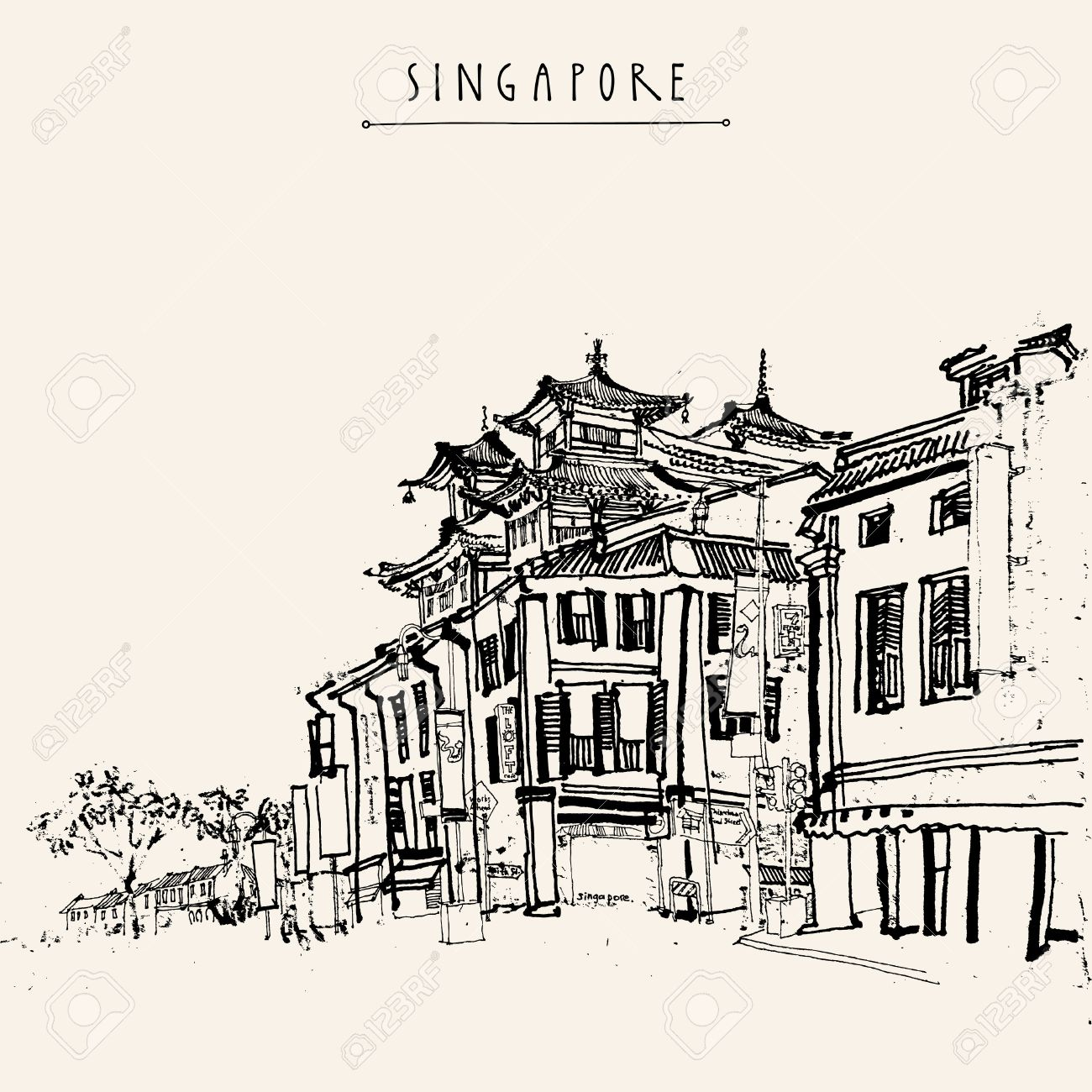 1300x1300 Singapore China Town Drawing. Vintage Travel Postcard Or Poster
