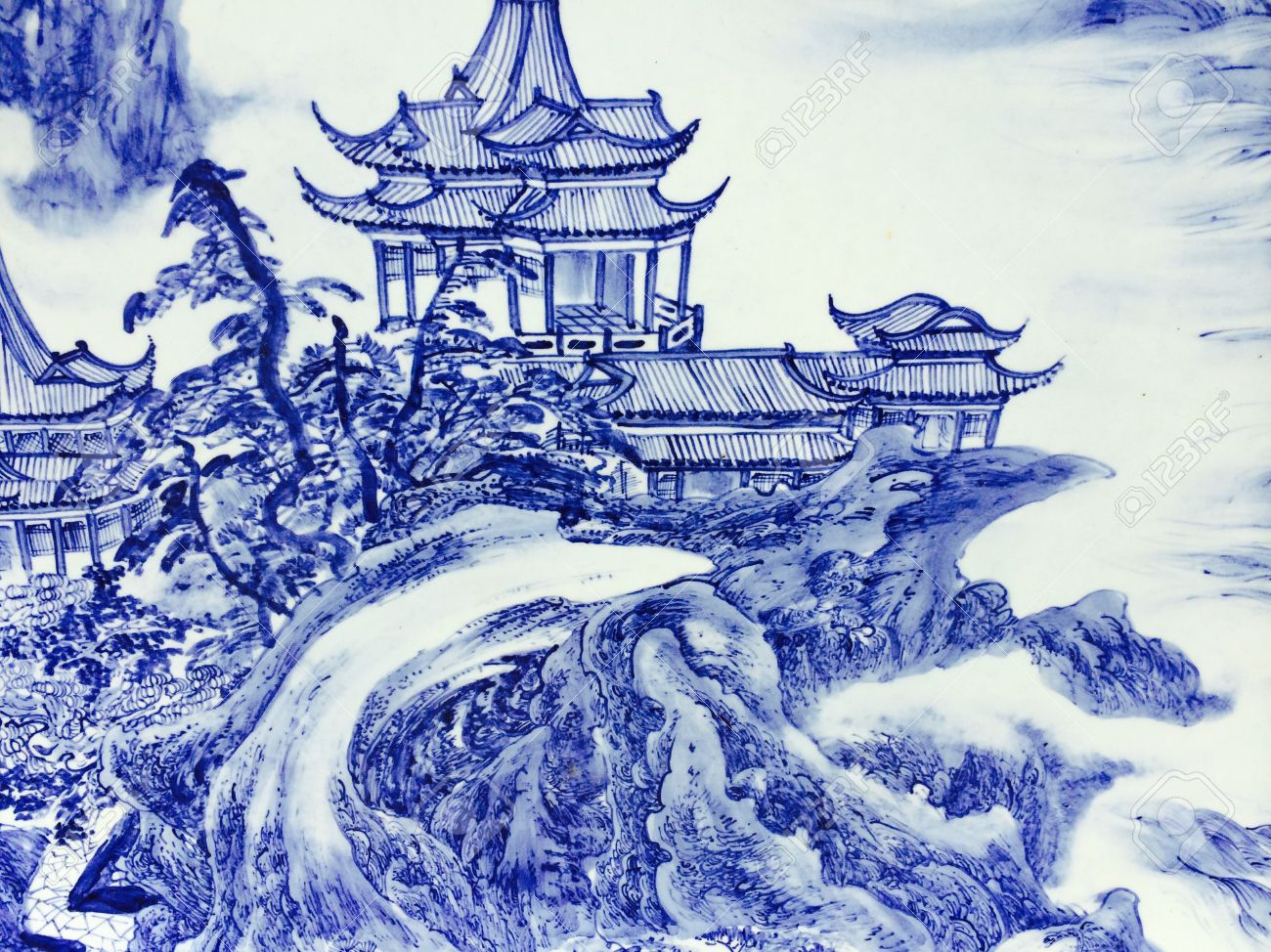 1300x974 The Art Of China House Blue Drawing House Stock Photo, Picture