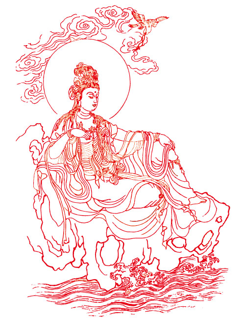 498x656 Guanyin Bodhisattva Line Drawing Vector Graphic Graphic Hive