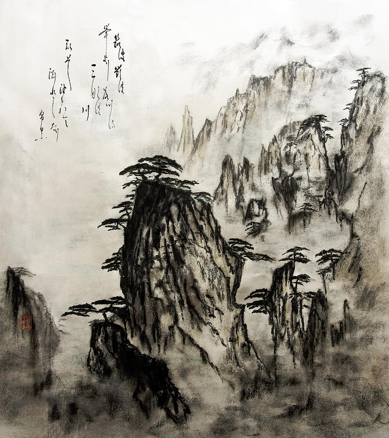 800x900 Chinese Mountains With Poem In Ink Brush Calligraphy Of Love Poem