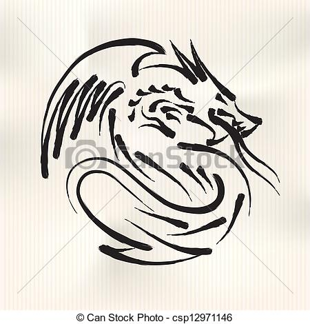 450x470 Chinese Calligraphy Of Dragon Vector Eps10 Illustration Eps