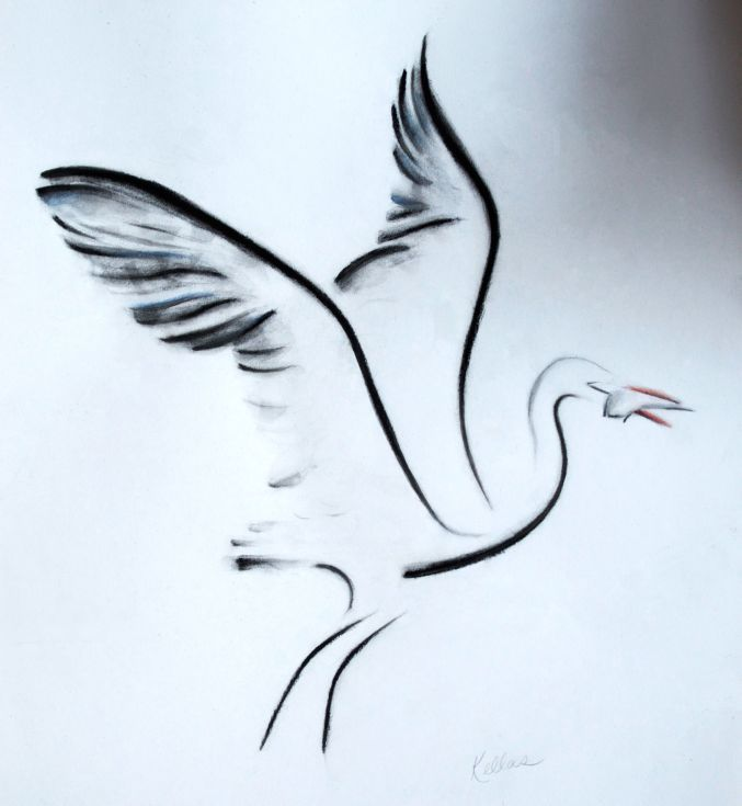 677x735 Crane With Fish Calligraphy Ink, Chinese Calligraphy And Graphite